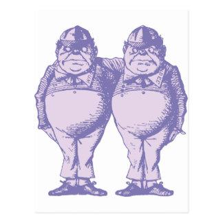 Tweedle Dee and Tweedle Dum Inked Lavender Postcard