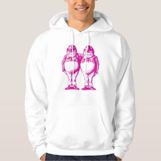 Tweedle Dee and Tweedle Dum Inked Pink Hoodie