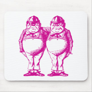 Tweedle Dee and Tweedle Dum Inked Pink Mouse Pad