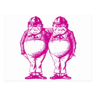 Tweedle Dee and Tweedle Dum Inked Pink Postcard