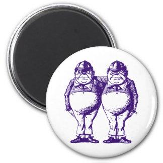 Tweedle Dee and Tweedle Dum Inked Purple 2 Inch Round Magnet