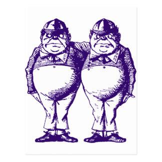 Tweedle Dee and Tweedle Dum Inked Purple Postcard