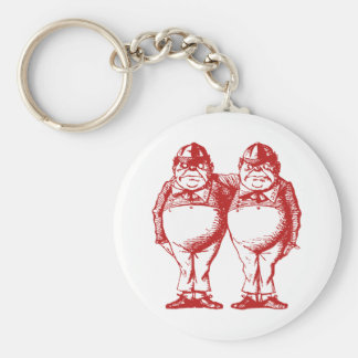 Tweedle Dee and Tweedle Dum Inked Red Basic Round Button Keychain