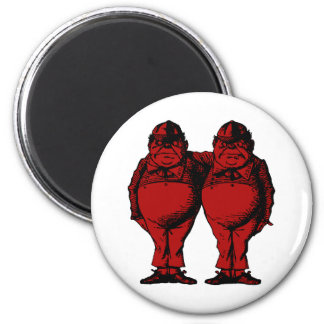 Tweedle Dee and Tweedle Dum Inked Red Fill 2 Inch Round Magnet