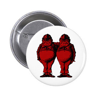 Tweedle Dee and Tweedle Dum Inked Red Fill Button