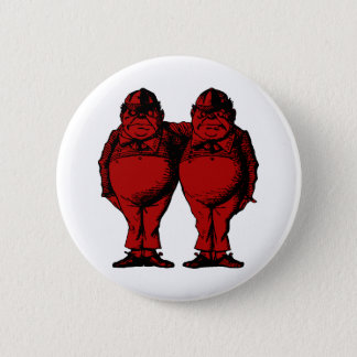 Tweedle Dee and Tweedle Dum Inked Red Fill Pinback Button