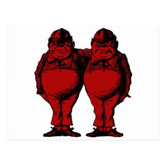 Tweedle Dee and Tweedle Dum Inked Red Fill Postcard