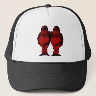 Tweedle Dee and Tweedle Dum Inked Red Fill Trucker Hat