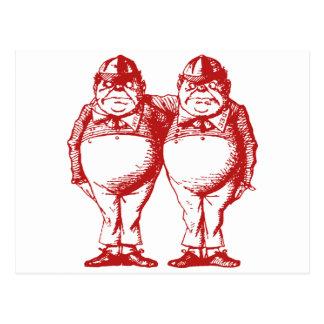 Tweedle Dee and Tweedle Dum Inked Red Post Card