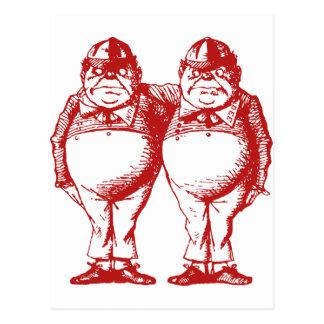 Tweedle Dee and Tweedle Dum Inked Red Postcard