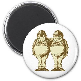 Tweedle Dee and Tweedle Dum Inked Sepia 2 Inch Round Magnet