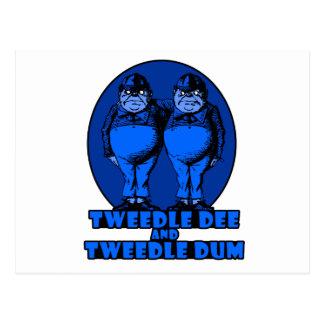 Tweedle Dee and Tweedle Dum Logo Blue Postcard