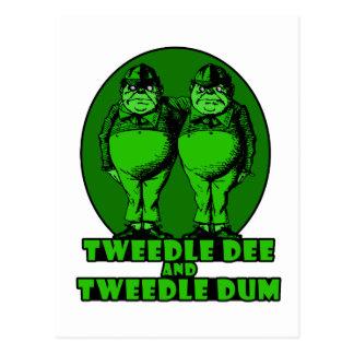 Tweedle Dee and Tweedle Dum Logo Green Postcard