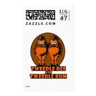 Tweedle Dee and Tweedle Dum Logo Orange Postage Stamp