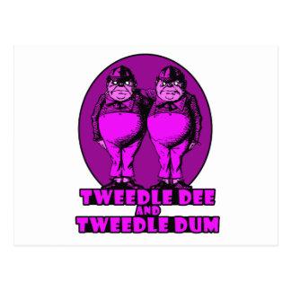 Tweedle Dee and Tweedle Dum Logo Pink Postcard