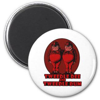 Tweedle Dee and Tweedle Dum Logo Red 2 Inch Round Magnet