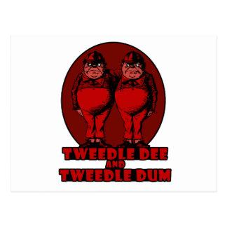 Tweedle Dee and Tweedle Dum Logo Red Postcard
