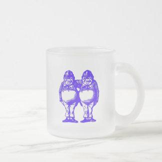 Tweedle Dee & Tweedle Dum in Blue Frosted Glass Coffee Mug