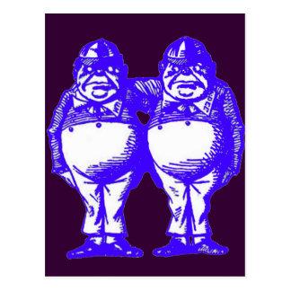 Tweedle Dee & Tweedle Dum in Blue Postcard