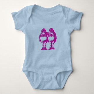 Tweedle Dee & Tweedle Dum in Purple Pink Baby Bodysuit