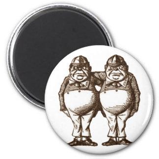 Tweedle Dee & Tweedle Dum Sepia 2 Inch Round Magnet