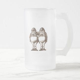 Tweedle Dee & Tweedle Dum Sepia Frosted Glass Beer Mug