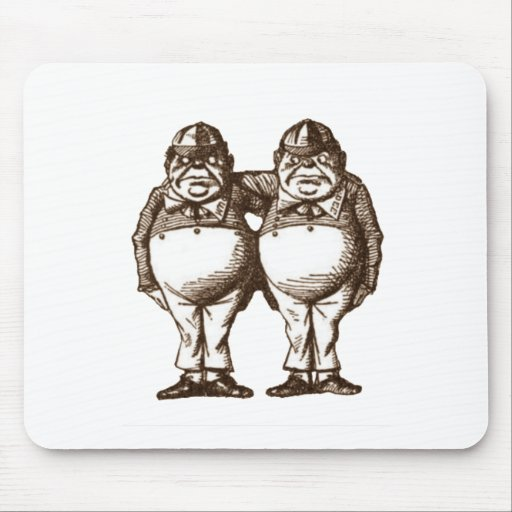 Tweedle Dee & Tweedle Dum Sepia Mouse Pad