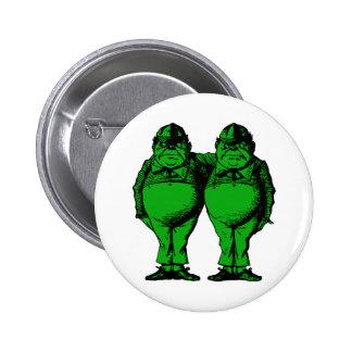Tweedle Dee y Tweedle el terraplén verde entintado Pin Redondo 5 Cm