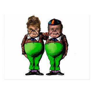 Tweedles Palin y Bush Postales