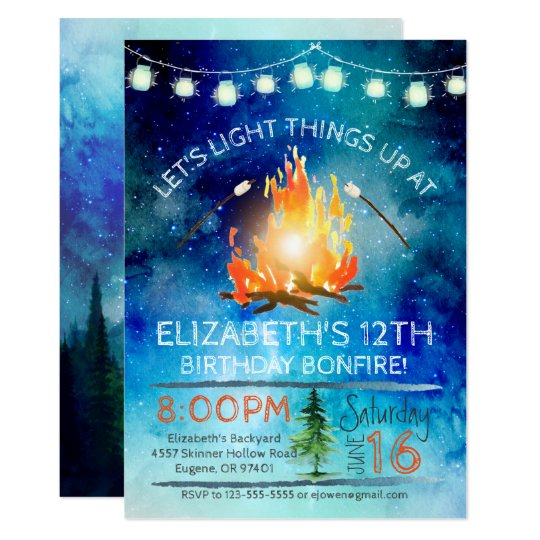 Tween Bonfire Birthday Party Invitation Zazzle Com