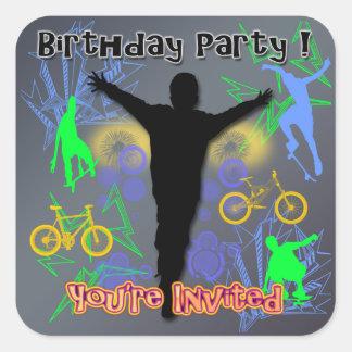 Tween Boy's Birthday Invitation envelope seal Square Sticker