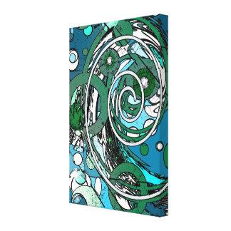 Tween Circles - Blue / Green Canvas Print
