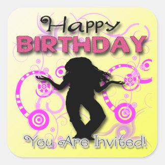 Tween Girl's Birthday Invitation envelope seal Square Sticker