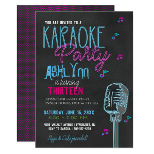 Karaoke invitations zazzle tweenteen karaoke birthday party invitation stopboris Choice Image