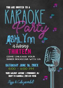 Teen birthday invitations zazzle tweenteen karaoke birthday party invitation filmwisefo