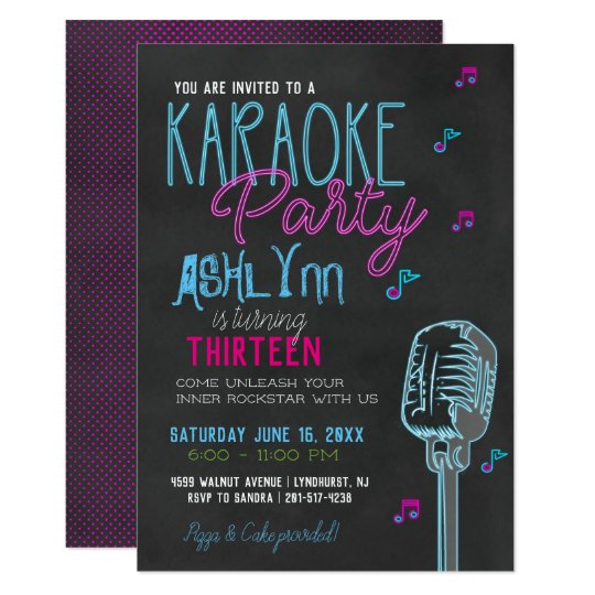 Tween Teen Karaoke Birthday Party Invitation