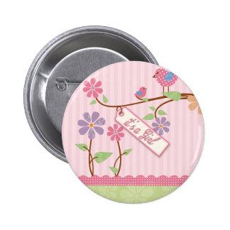 Tweet bird flower girl button