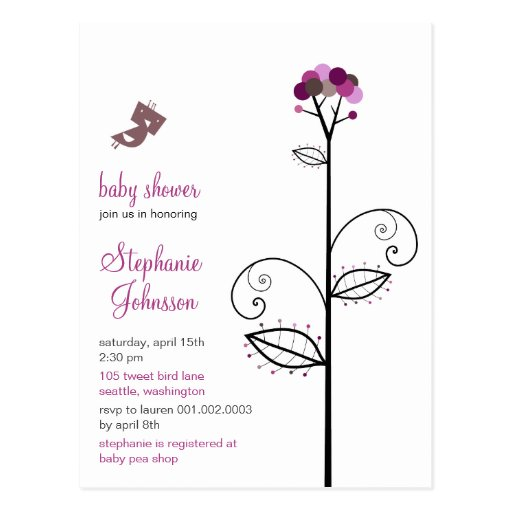 Tweet Bird   Purple Baby Shower Custom Postcard