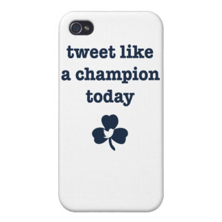 Tweet Champion iPhone4 white/navy logo small iPhone 4/4S Covers