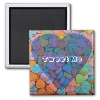 Tweet Me-Customizable Candy Hearts with New Saying Refrigerator Magnet