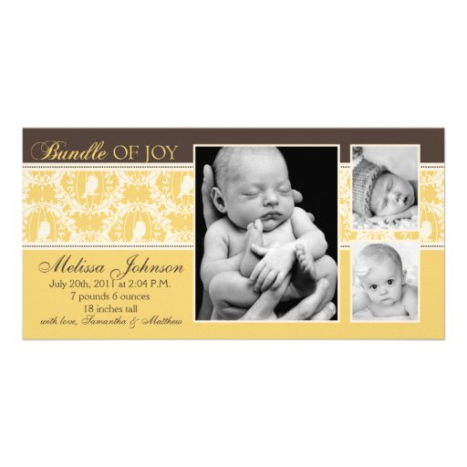 Tweet Tweet Baby Announcement Card Personalized Photo Card