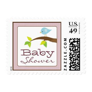 Tweet Tweet Baby Shower Invitation Stamps: pink Postage