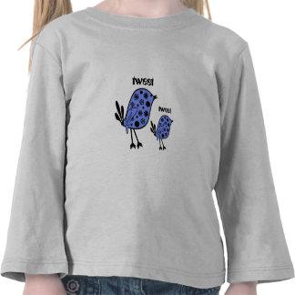 Tweet, tweet, blue  birds, tiny flowes,  girls top tshirts