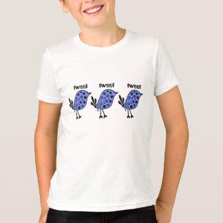 Tweet, tweet, bright blue birds on a girls top