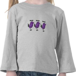 Tweet, tweet, bright purple birds on a girls top tee shirt