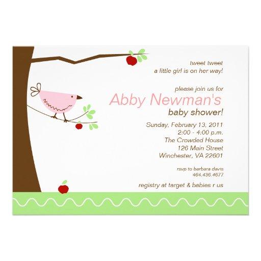 Tweet Tweet Pink Bird Girl Baby Shower Invitation