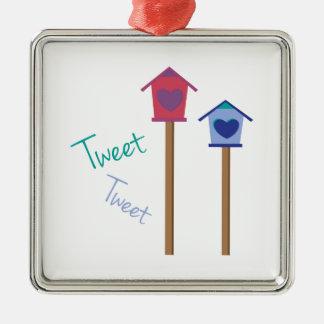 Tweet Tweet Square Metal Christmas Ornament