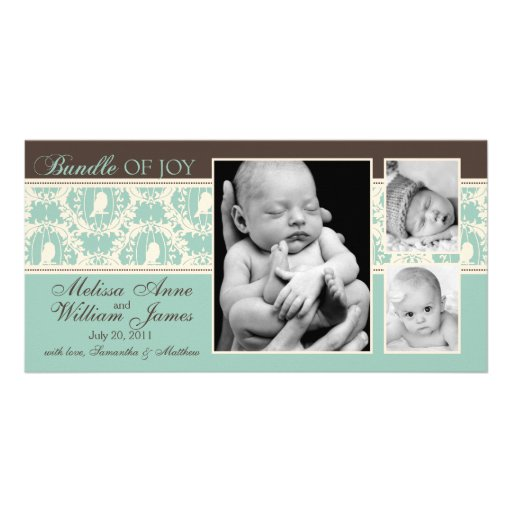 Tweet Tweet Twins Announcement Card Personalized Photo Card