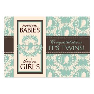 Tweet Tweet Twins Gift Tag Business Card Template