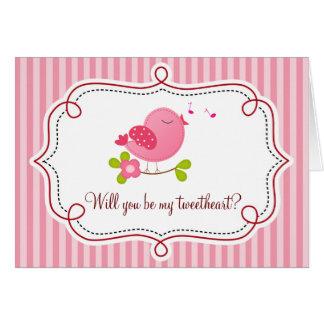 Tweetheart Bird Valentine's Day Card (Pink)